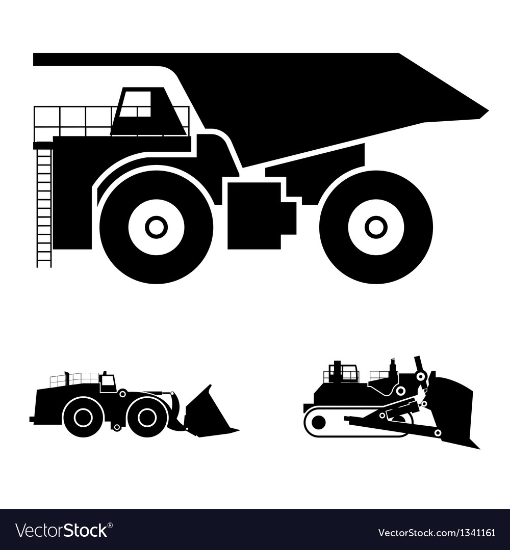 Symbol and a bulldozer and dump truck vector | Price: 1 Credit (USD $1)