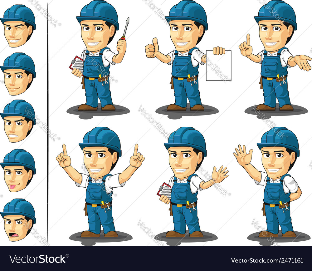 Technician or repairman mascot 3 vector | Price: 1 Credit (USD $1)