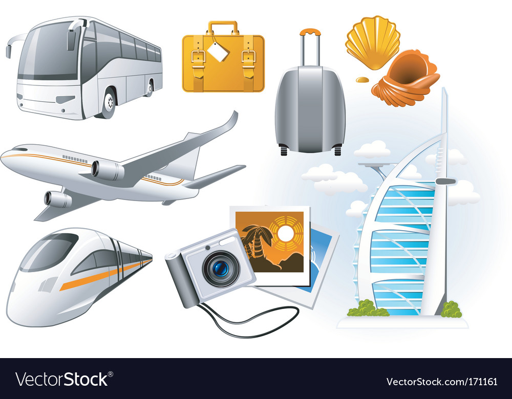 Transport and travel icons vector | Price: 3 Credit (USD $3)