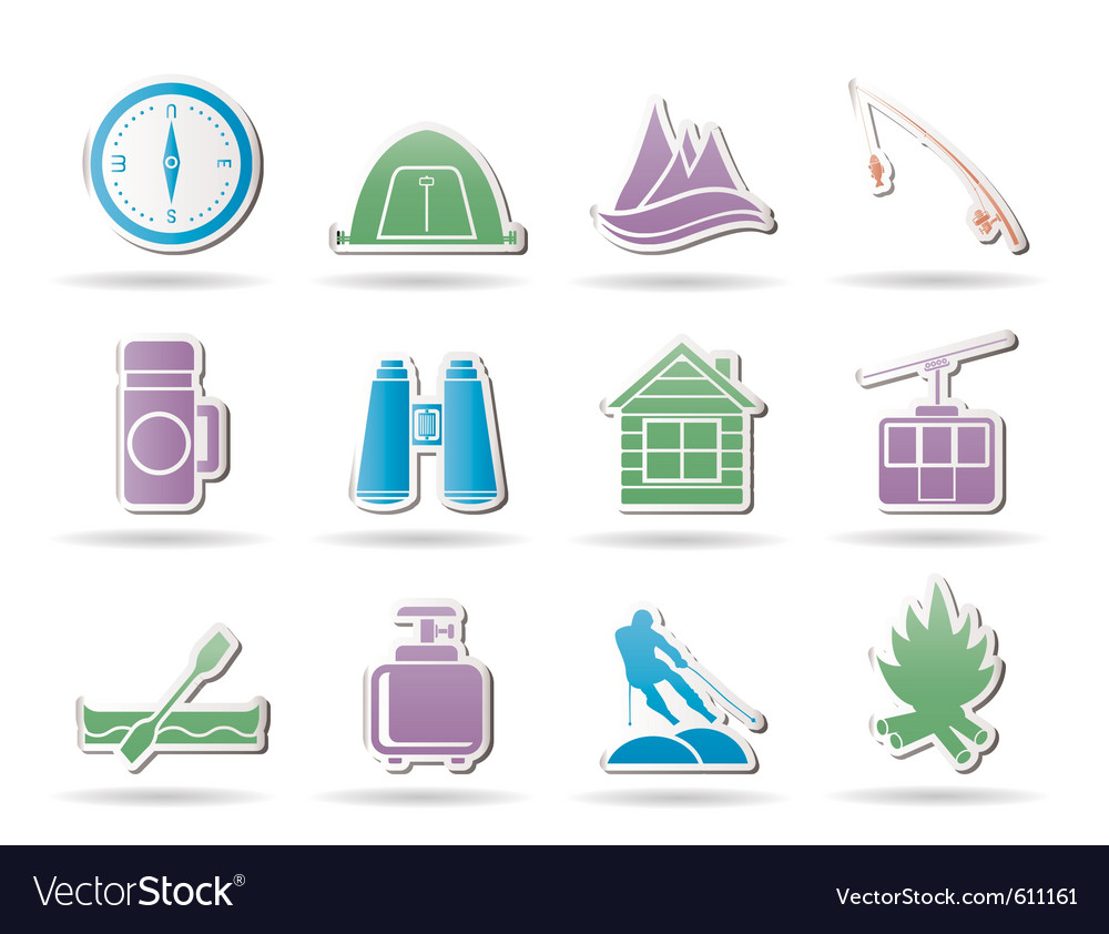 Travel and mountain objects vector | Price: 1 Credit (USD $1)