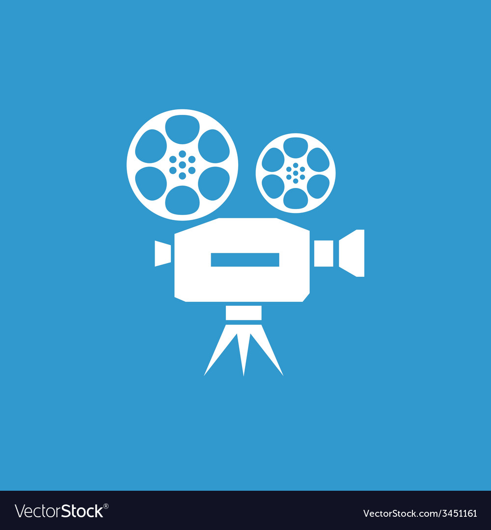Video icon white on the blue background vector | Price: 1 Credit (USD $1)