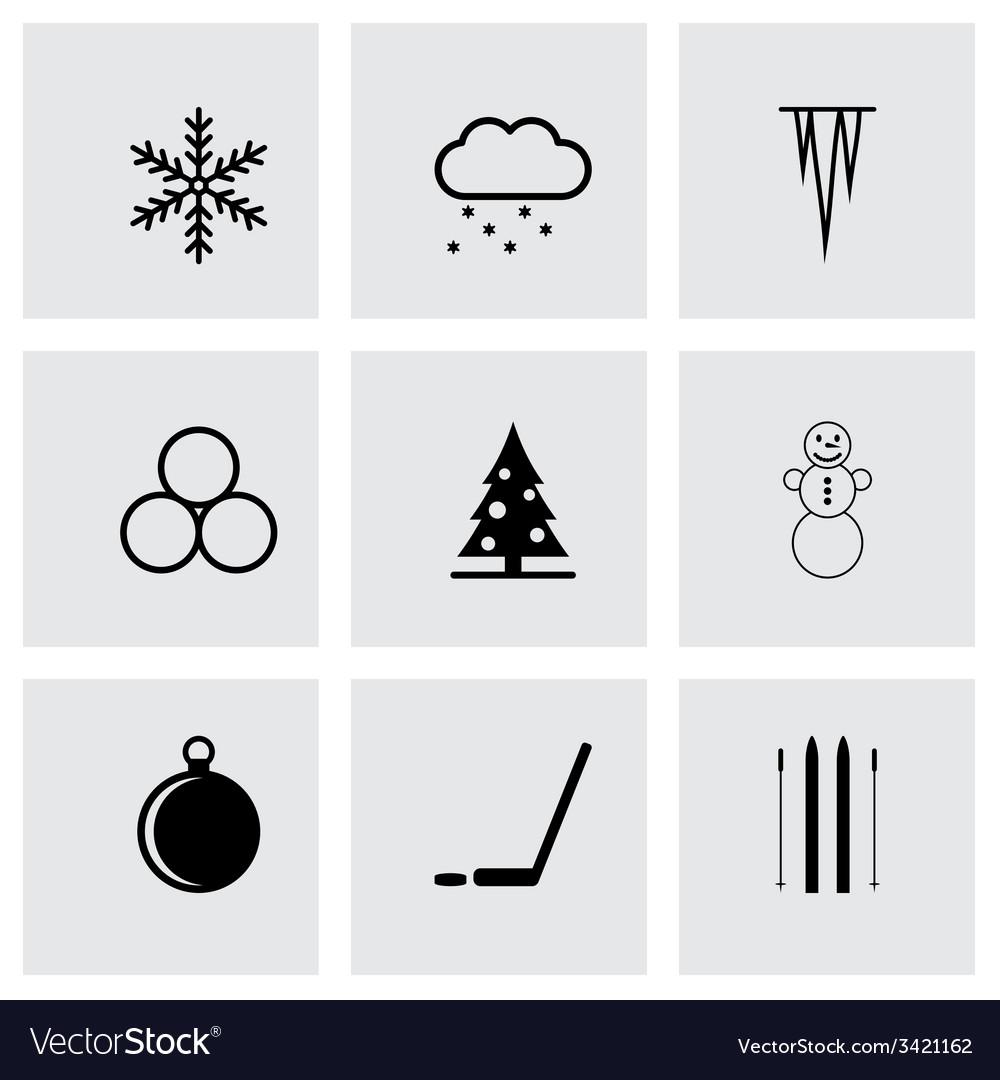 Black winter icon set vector | Price: 1 Credit (USD $1)