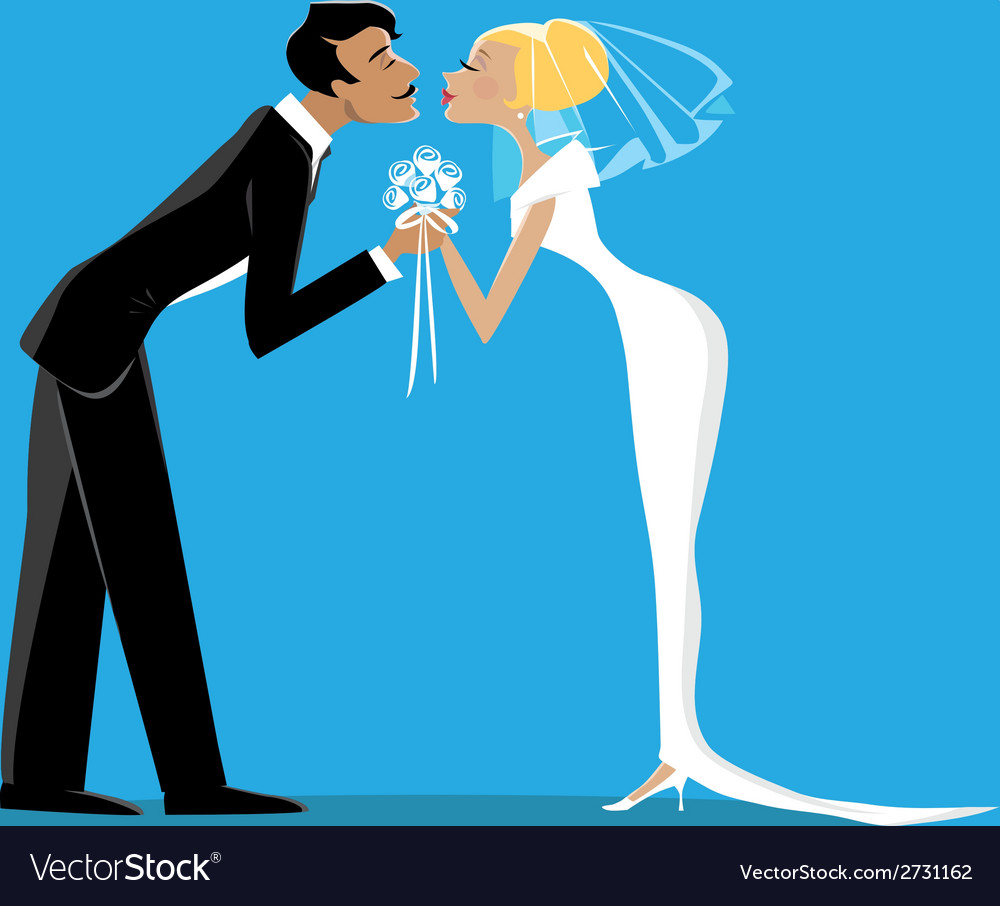 Bride and bridegroom kissing vector | Price: 1 Credit (USD $1)