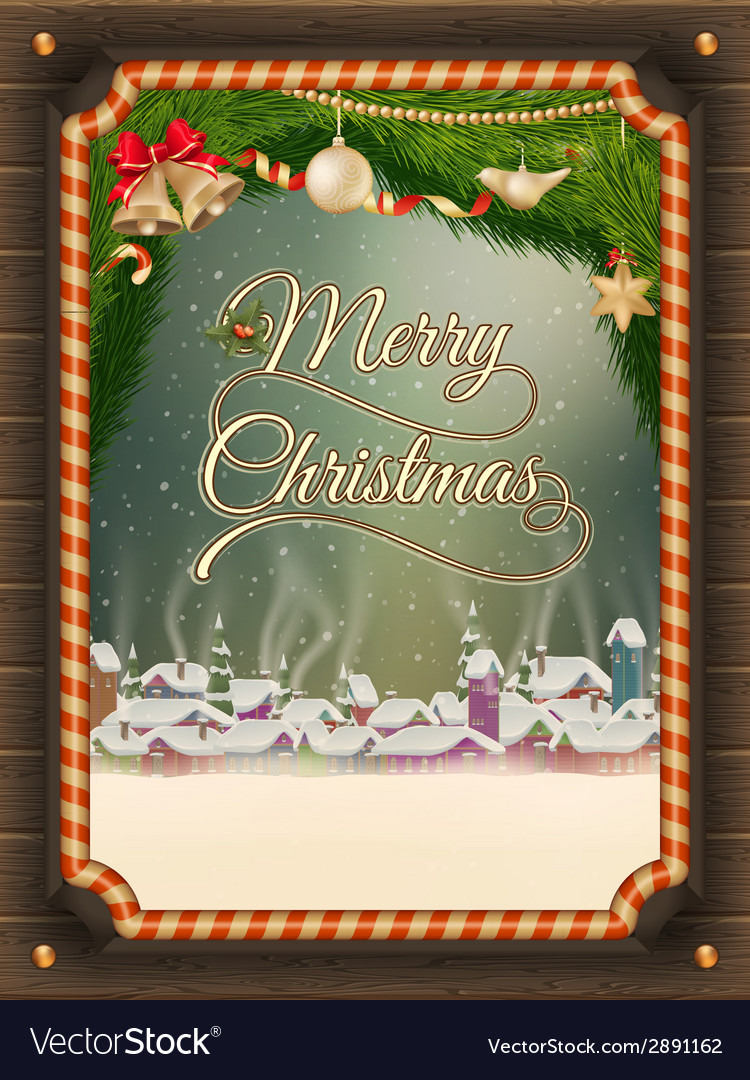 Christmas frame with winter village vector | Price: 3 Credit (USD $3)