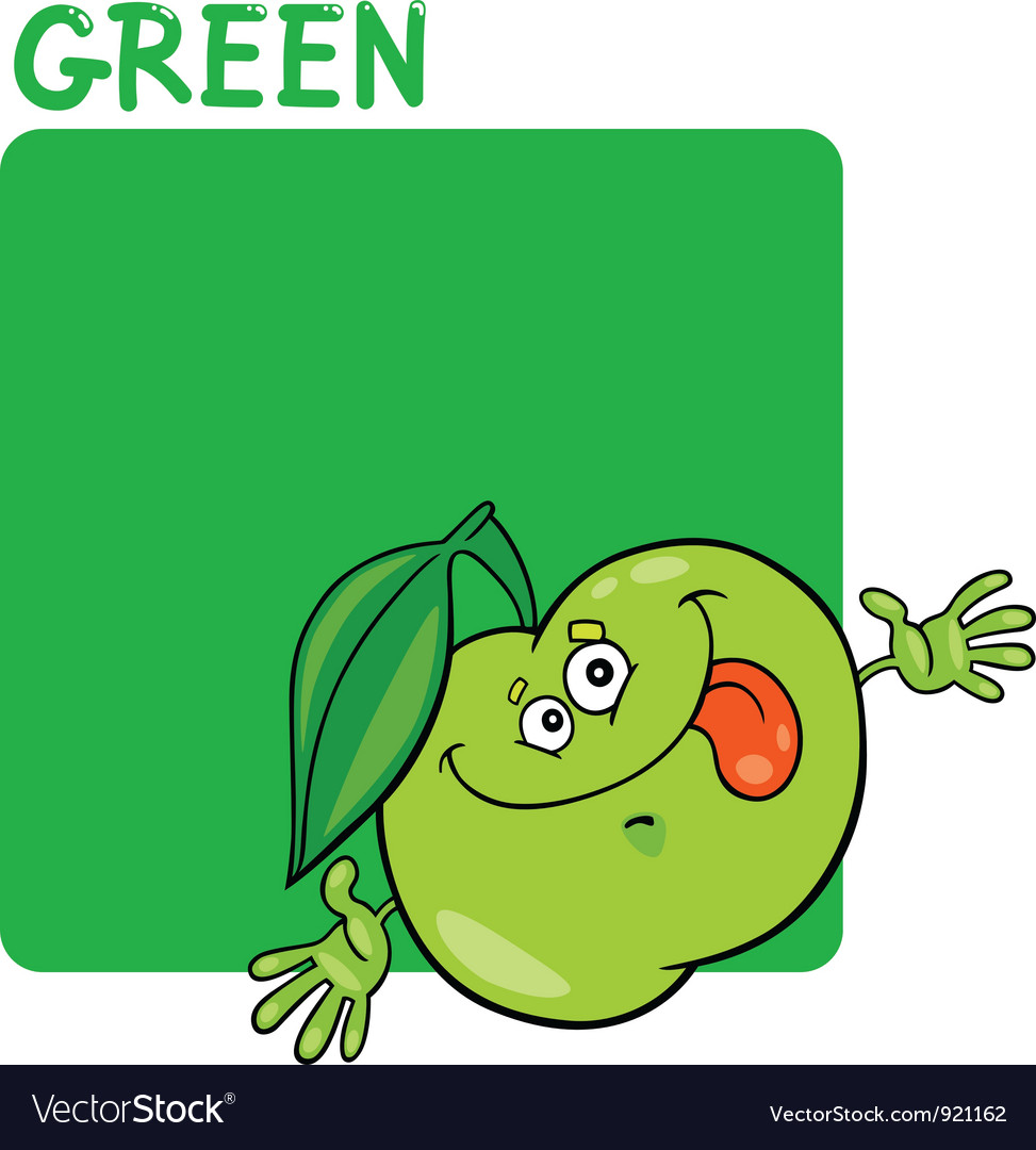 Color green and apple cartoon vector | Price: 1 Credit (USD $1)