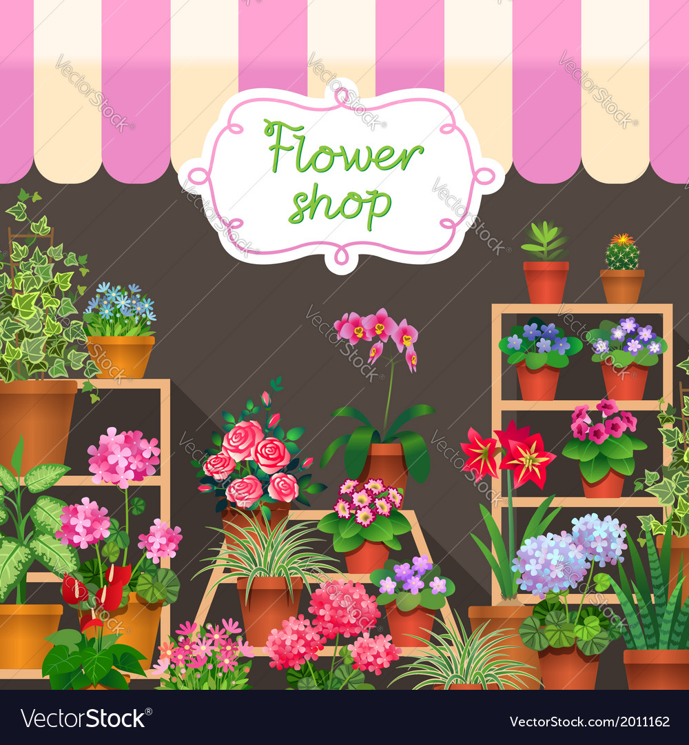 Flower shop dark vector | Price: 3 Credit (USD $3)