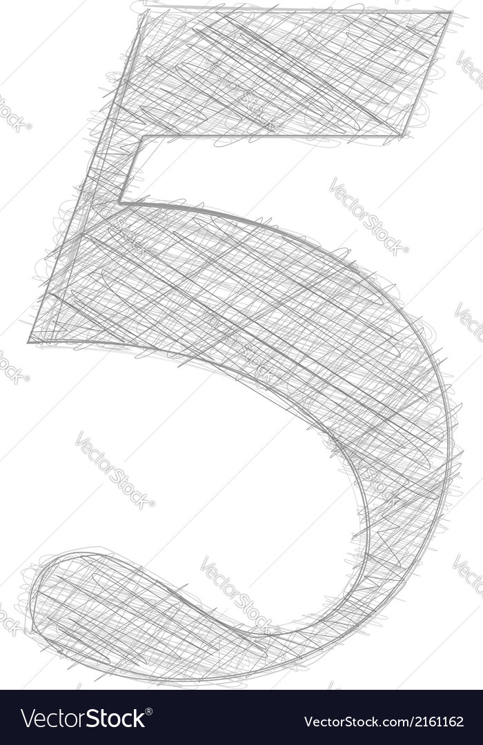 Freehand typography number 5 vector | Price: 1 Credit (USD $1)