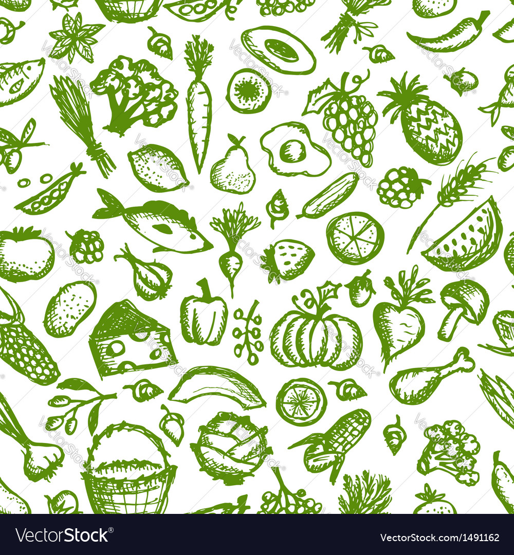 Healthy food seamless pattern sketch for your vector | Price: 1 Credit (USD $1)
