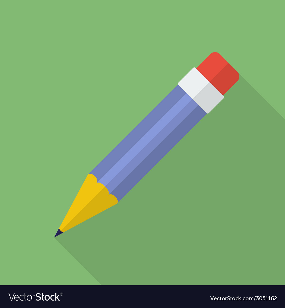 Pencil icon modern flat style with a long shadow vector | Price: 1 Credit (USD $1)