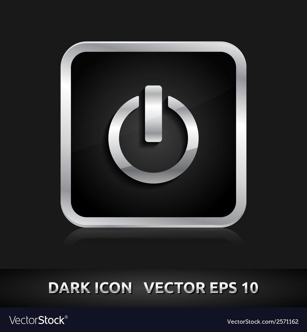 Power icon silver metal vector | Price: 1 Credit (USD $1)