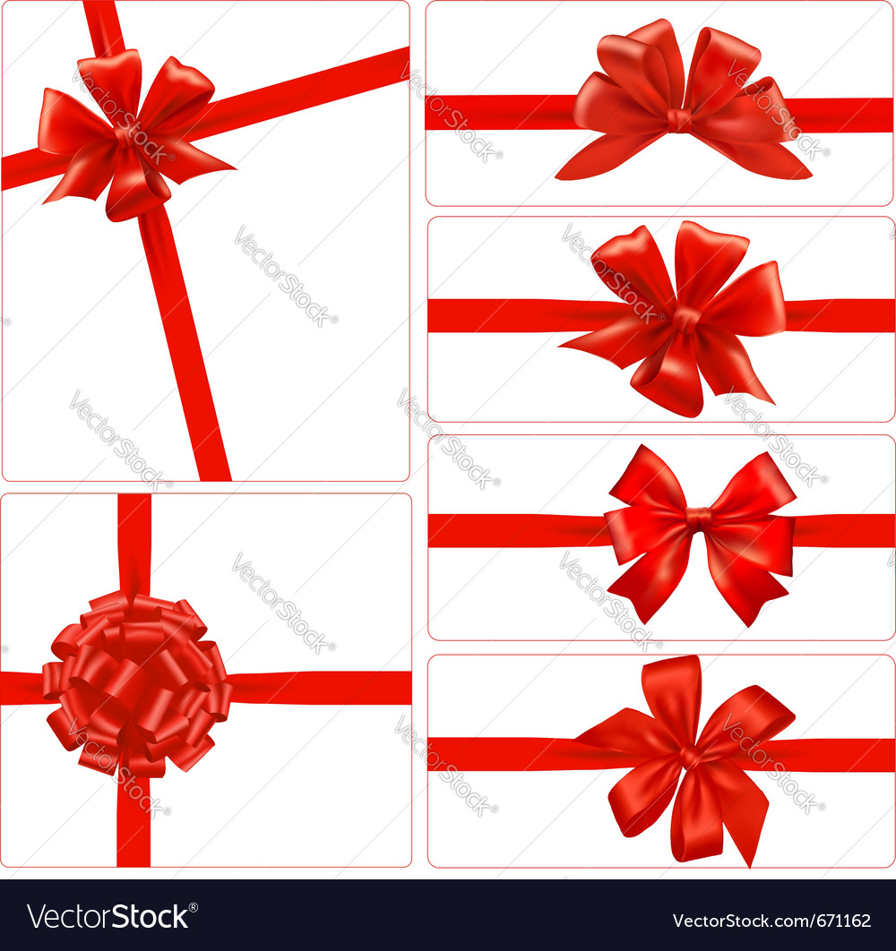 Set of red gift bows with ribbons vector | Price: 1 Credit (USD $1)
