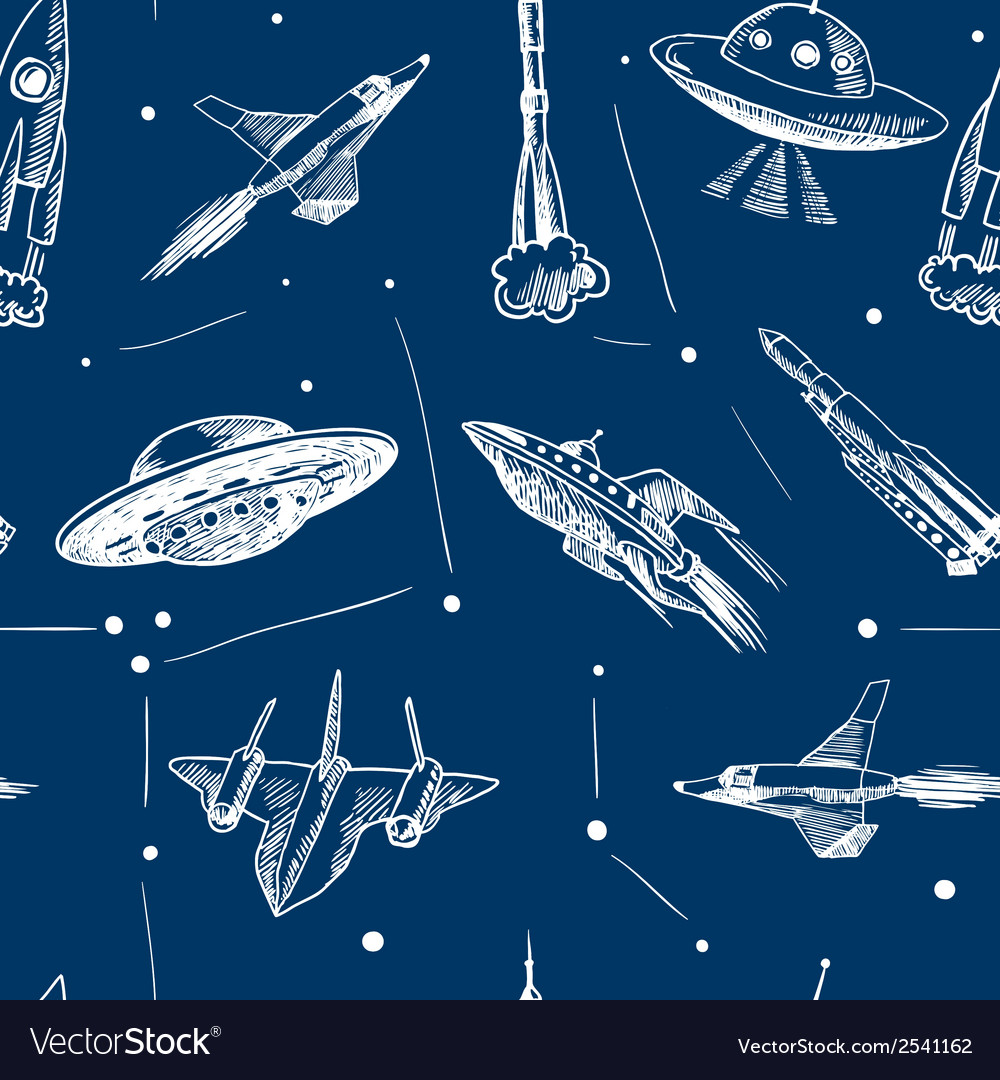 Space aircraft seamless pattern vector | Price: 1 Credit (USD $1)