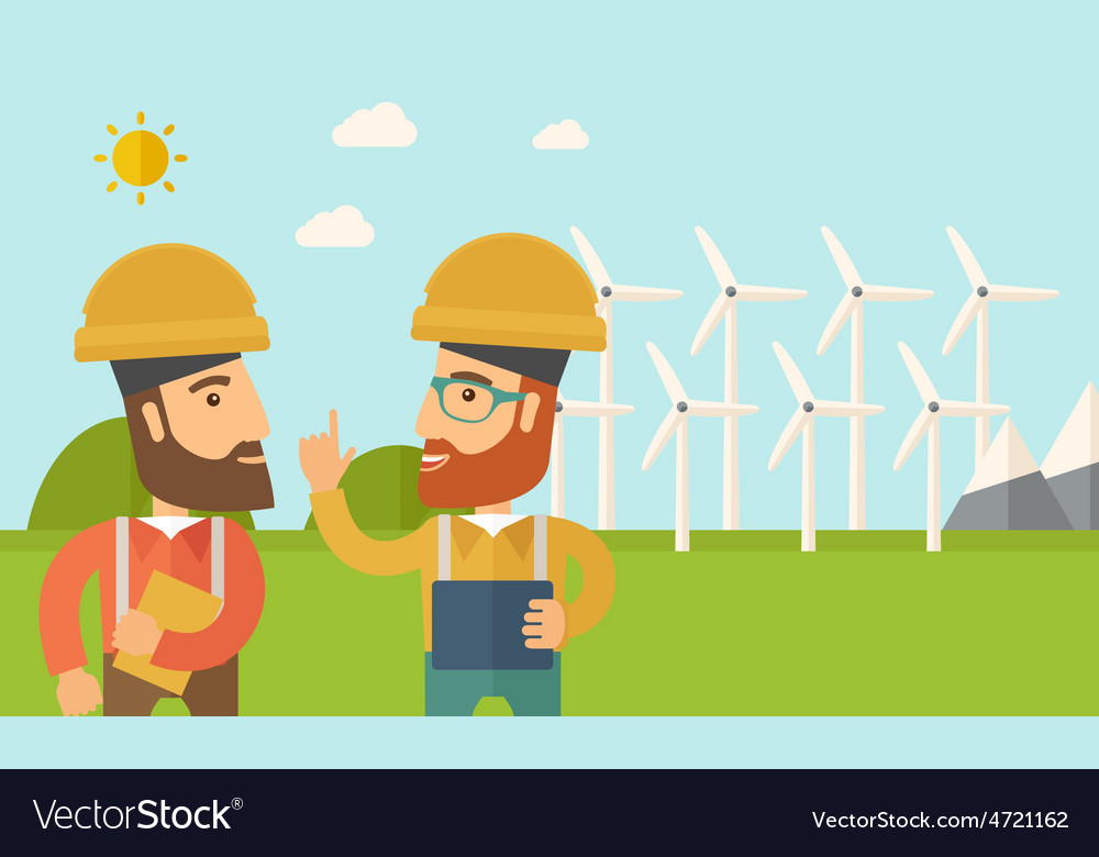 Two workers talking infront of windmills vector | Price: 1 Credit (USD $1)