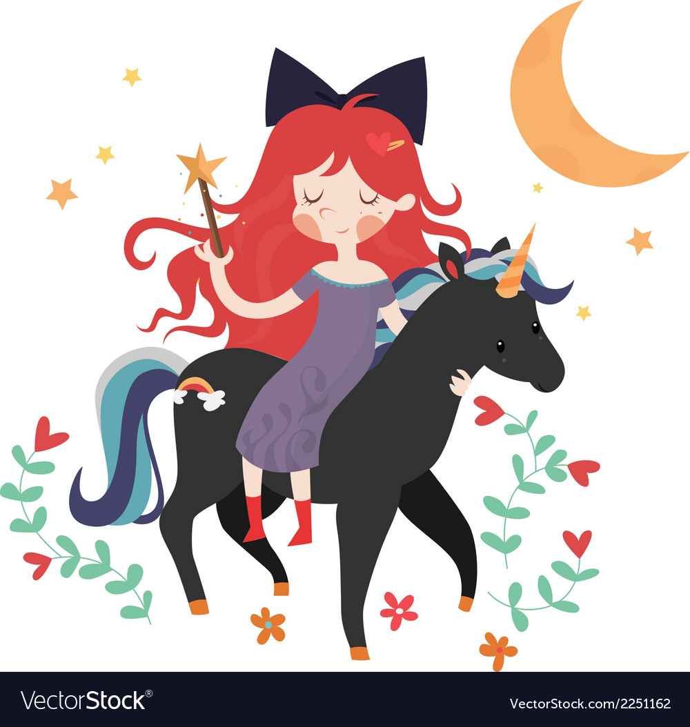 Whimsical girl on black unicorn vector | Price: 1 Credit (USD $1)