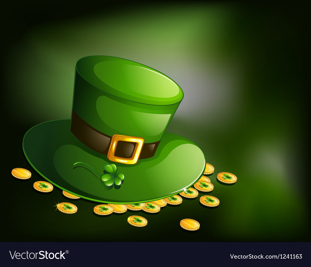 A green hat with a clover plant and coins vector | Price: 1 Credit (USD $1)