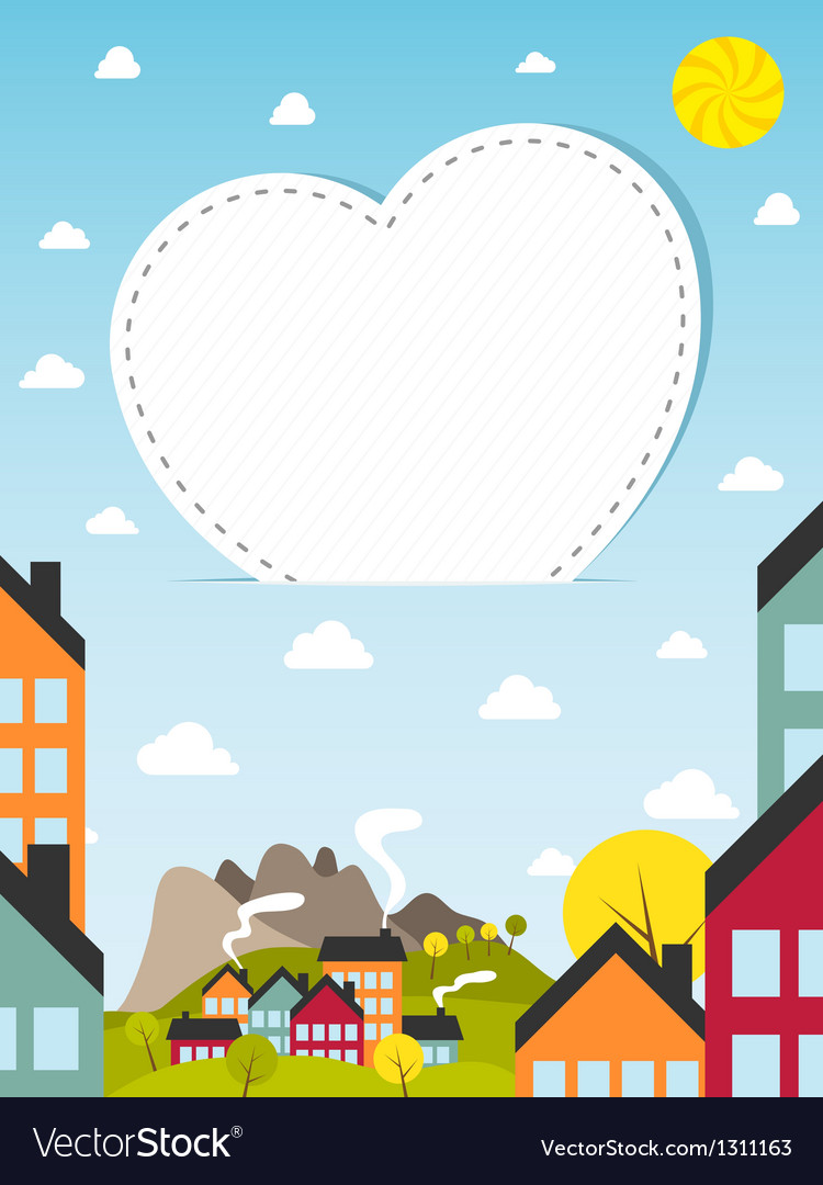 Banner with small town vector | Price: 3 Credit (USD $3)