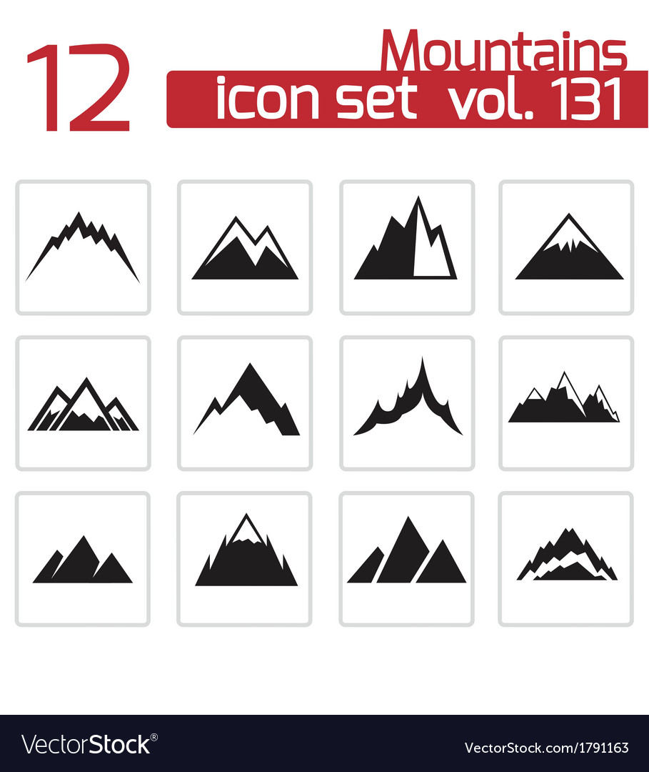 Black mountains icons set vector | Price: 1 Credit (USD $1)