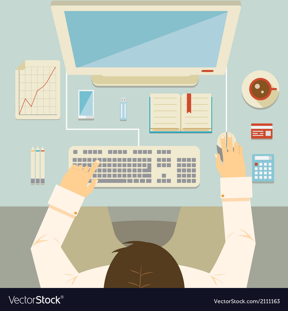 Businessman working at his desk vector | Price: 1 Credit (USD $1)