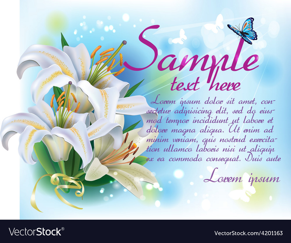 Card with white lilies vector | Price: 3 Credit (USD $3)