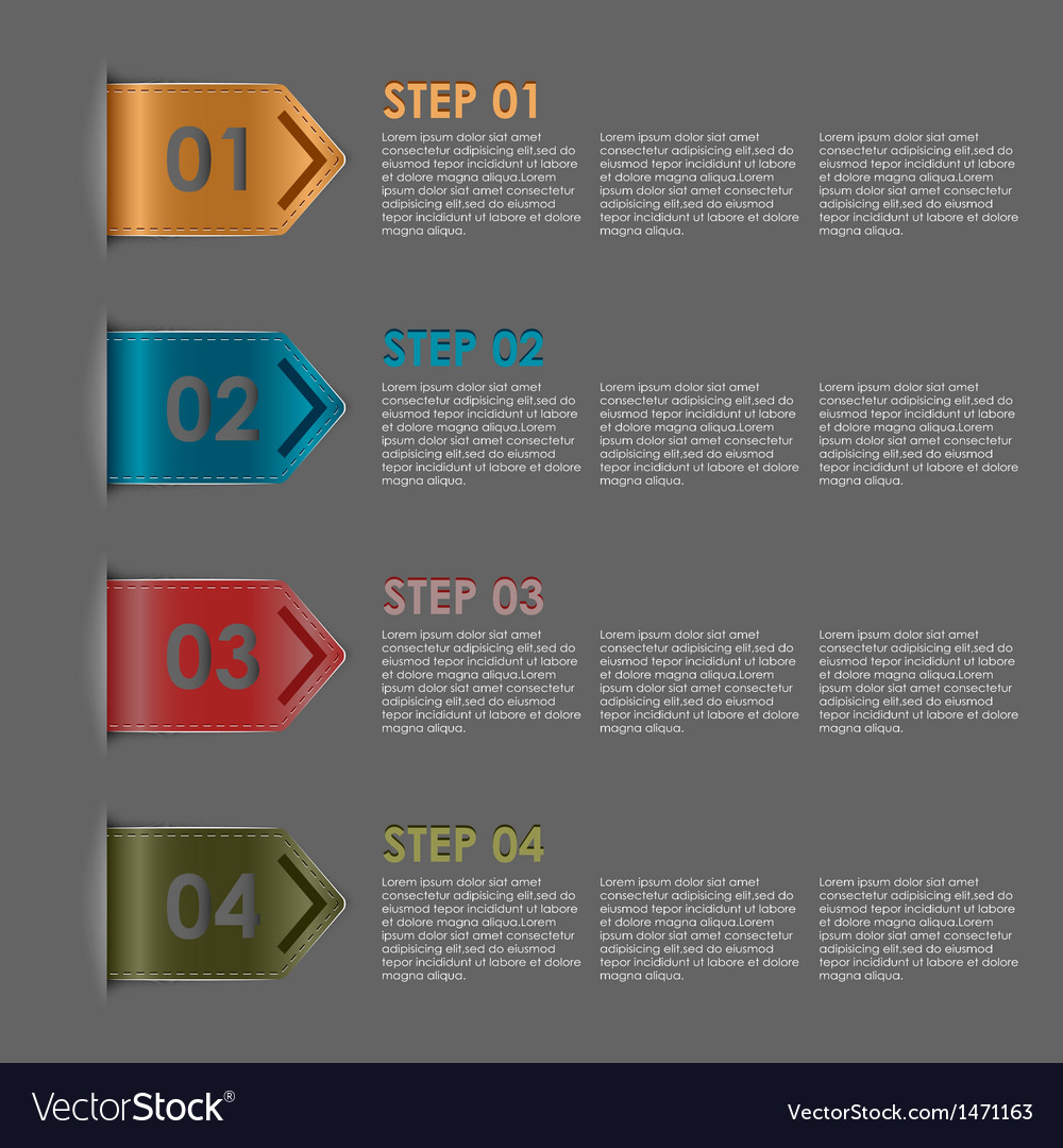 Colorful bookmarks steps for tutorial vector | Price: 1 Credit (USD $1)