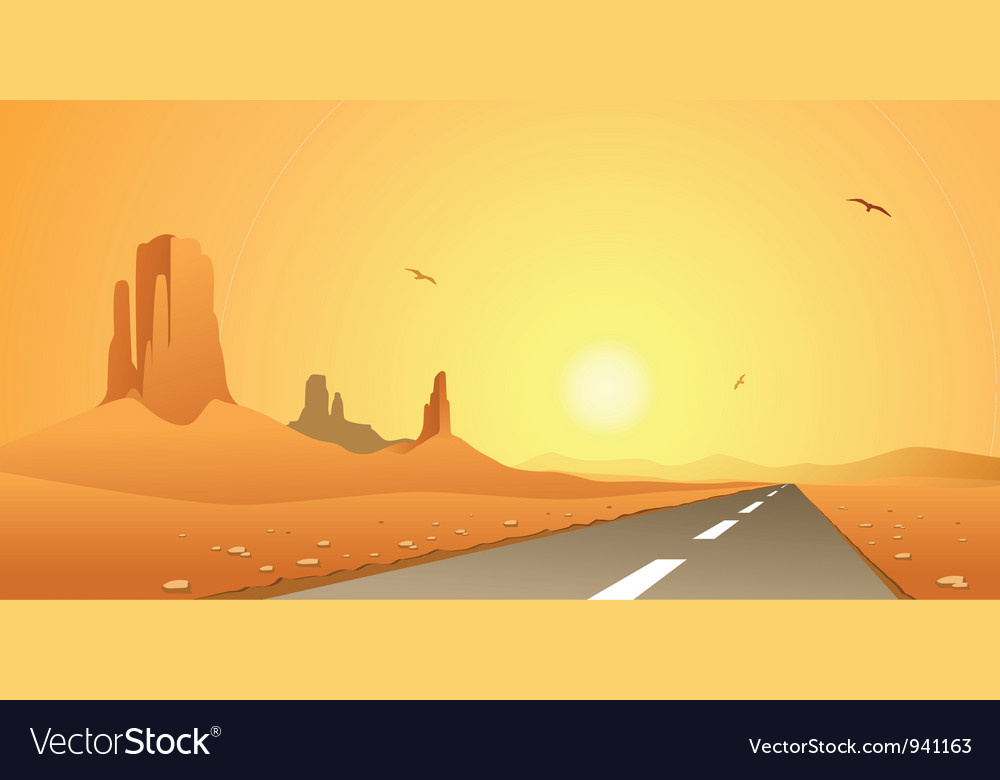 Desert road vector | Price: 1 Credit (USD $1)