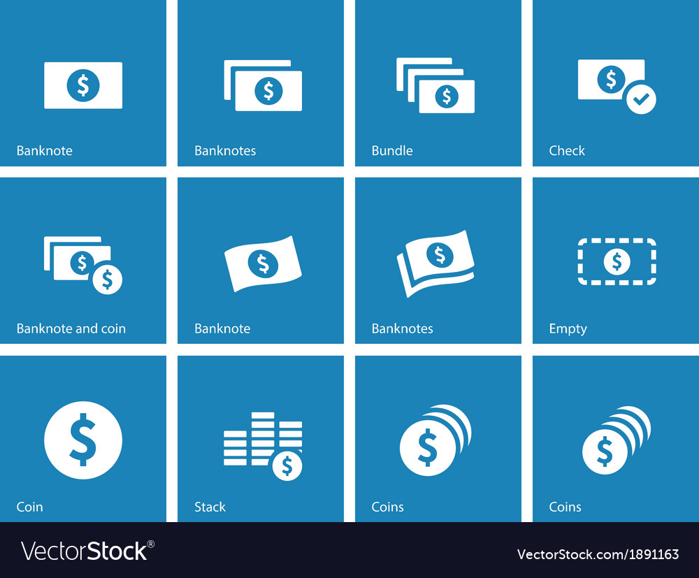 Dollar banknote blue icons on white background vector | Price: 1 Credit (USD $1)