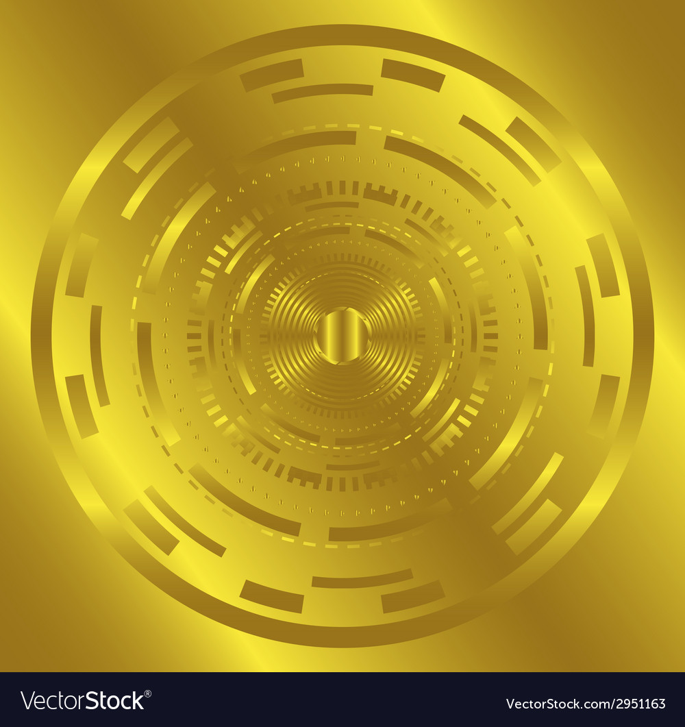 Golden abstract technology circle background vector