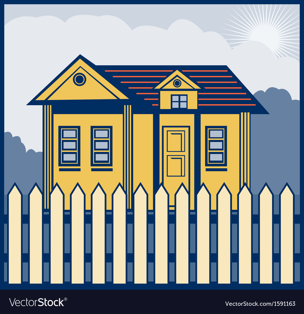 House with picket fence vector | Price: 1 Credit (USD $1)