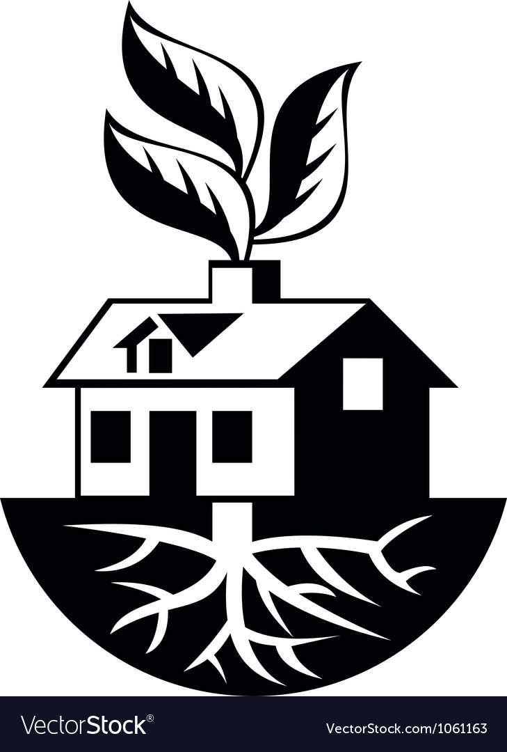 House with roots and leaves sprout vector | Price: 1 Credit (USD $1)