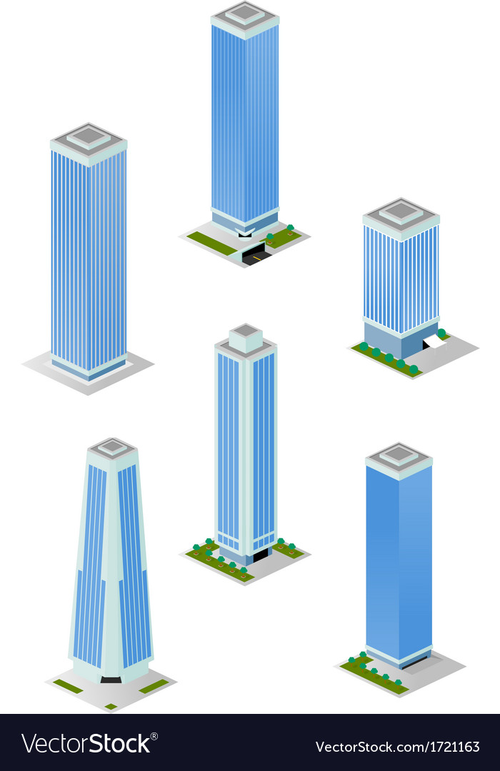 Isometric tall city office buildings pack vector | Price: 1 Credit (USD $1)