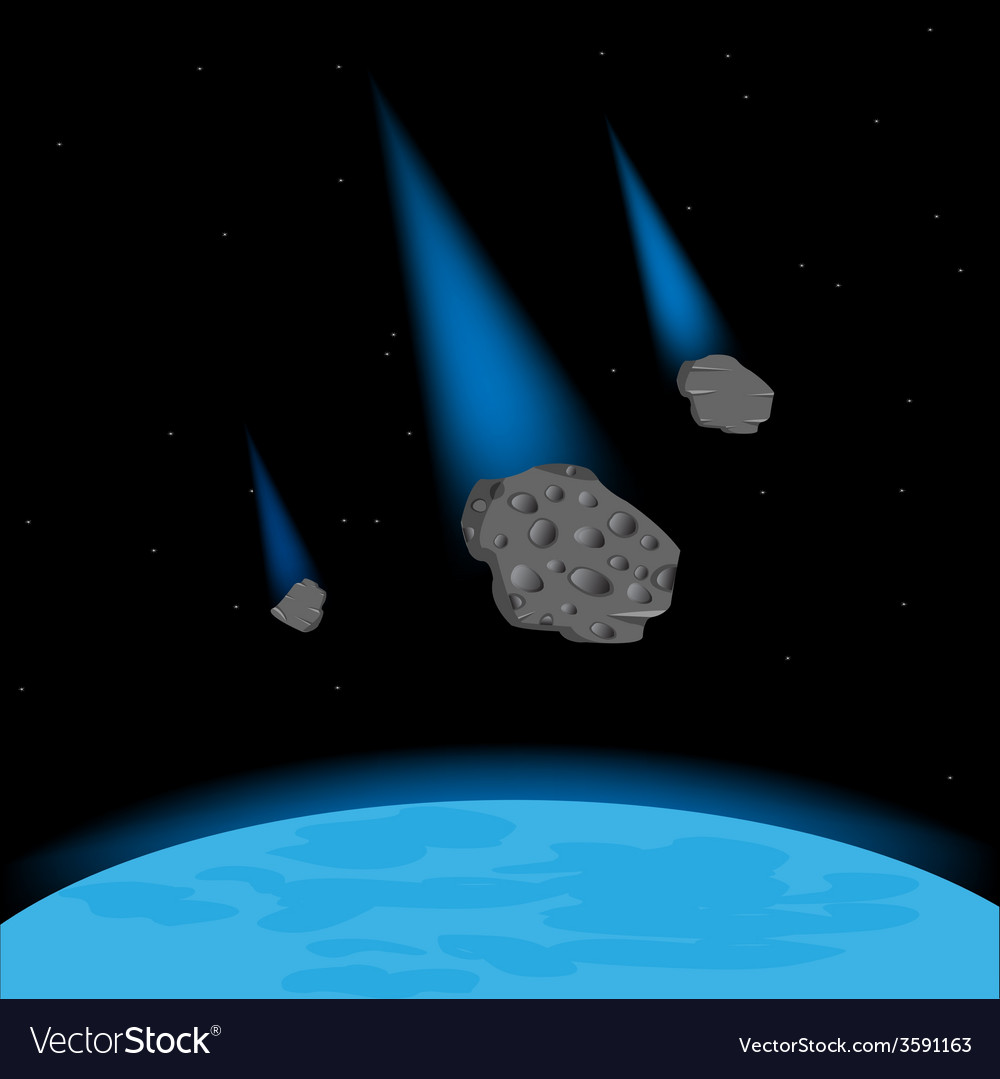 Meteorites fall on planet vector | Price: 1 Credit (USD $1)