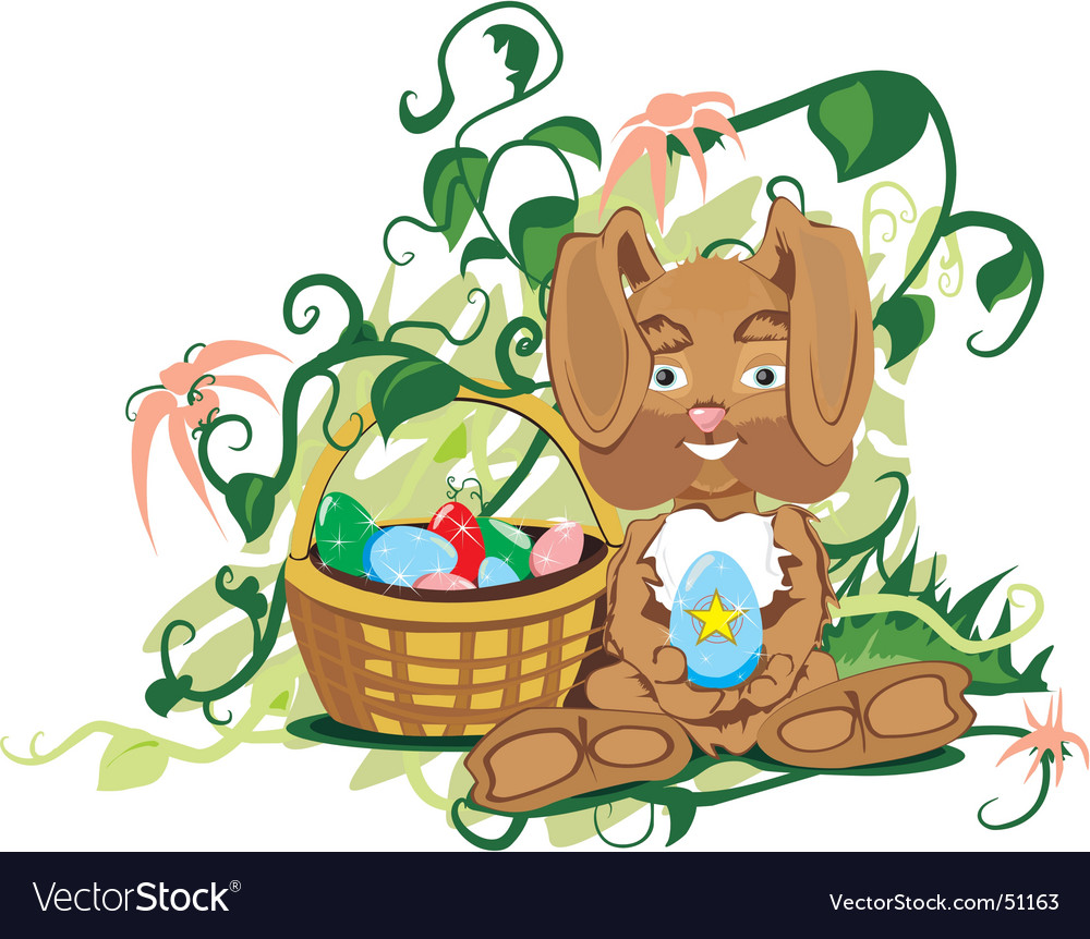 Small bunny with basket vector | Price: 3 Credit (USD $3)