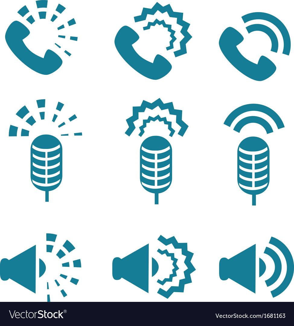 Types of sound from devices icon set vector | Price: 1 Credit (USD $1)