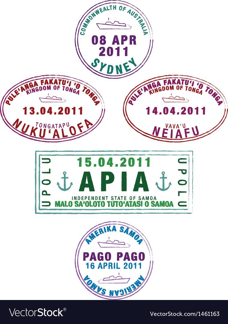Various ship passport stamps vector | Price: 1 Credit (USD $1)
