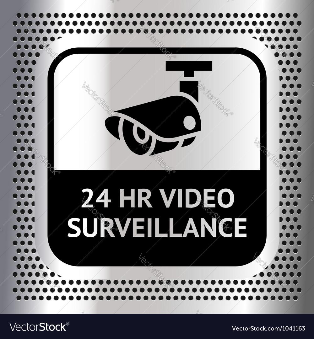 Video surveillance symbol on a metallic chromium vector | Price: 1 Credit (USD $1)