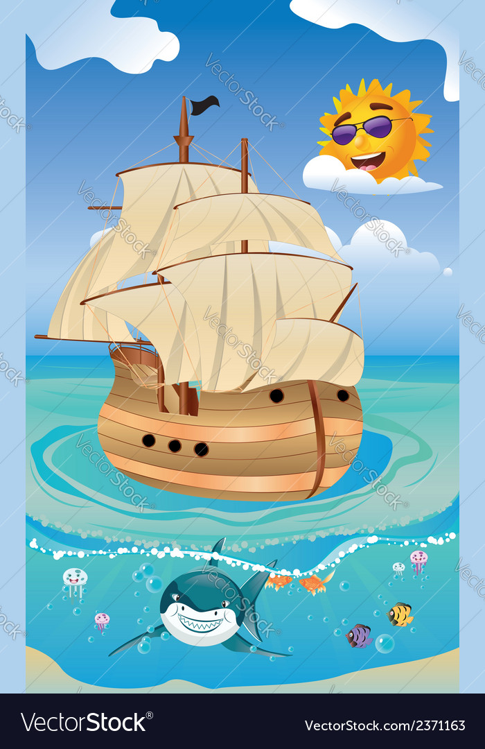 Wooden ship in the sea vector | Price: 1 Credit (USD $1)