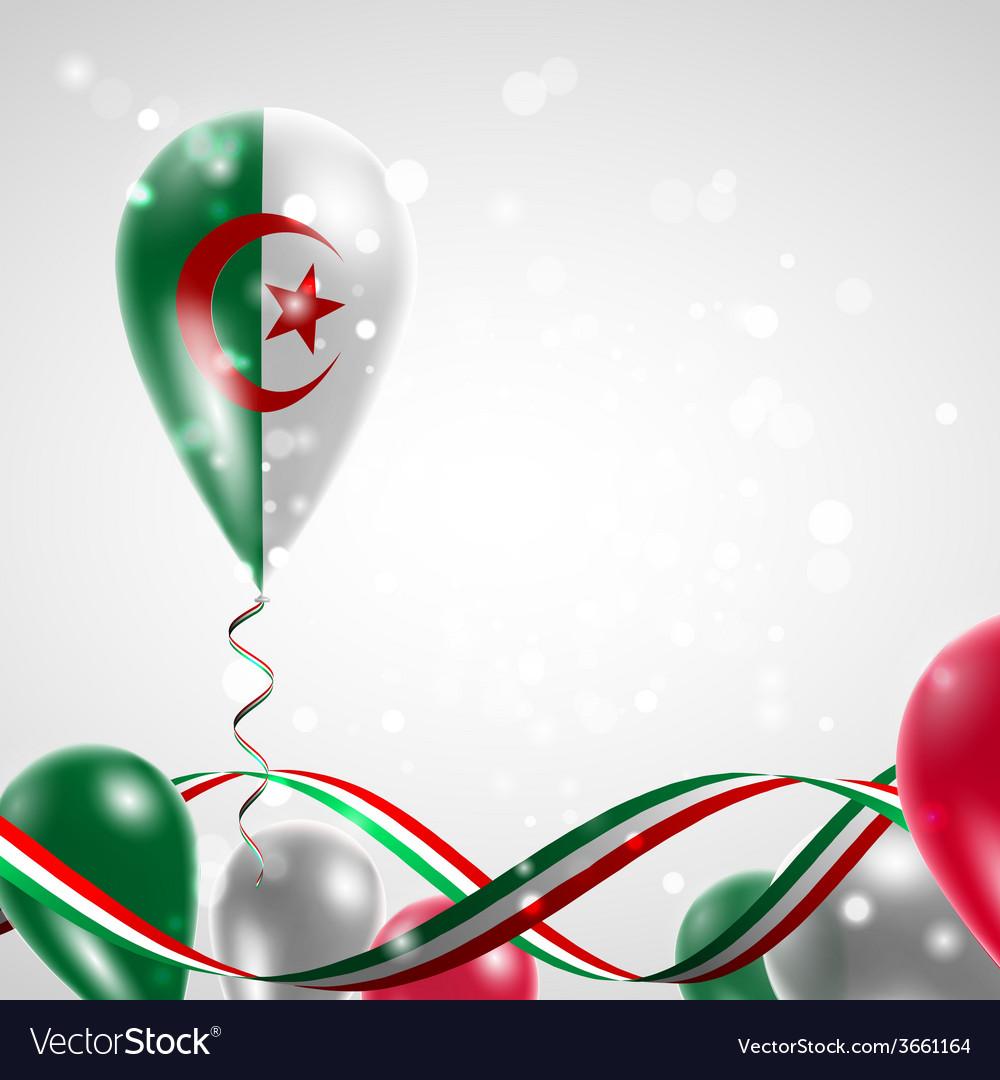 Algeria flag on balloon vector | Price: 1 Credit (USD $1)