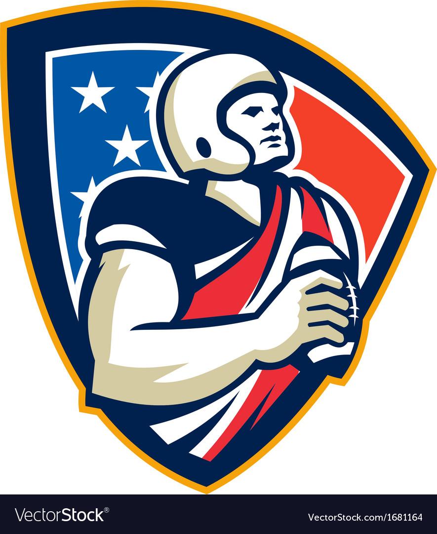 American football quarterback shield vector | Price: 1 Credit (USD $1)