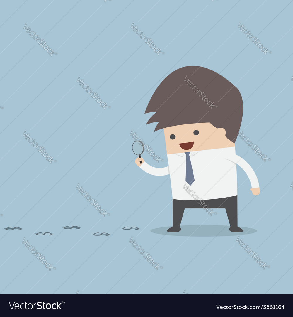 Businessman looking on dollar through magnifying g vector | Price: 1 Credit (USD $1)
