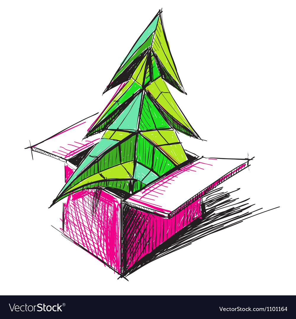 Christmas tree in a present box vector | Price: 1 Credit (USD $1)
