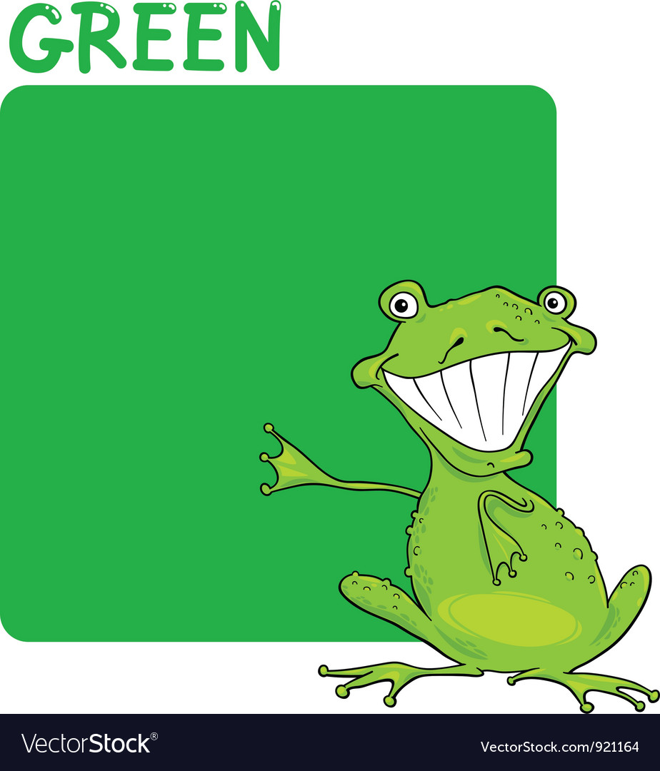 Color green and frog cartoon vector | Price: 1 Credit (USD $1)