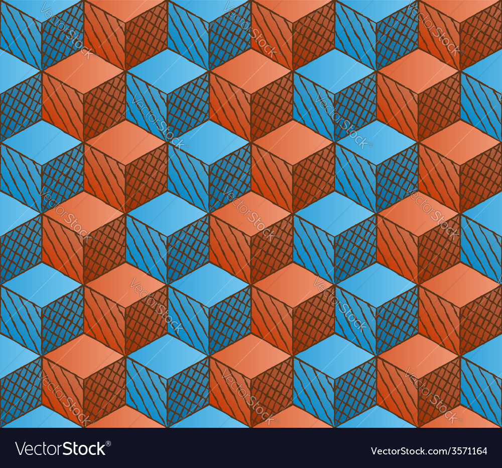 Colorful drawing styled cubes pattern vector | Price: 1 Credit (USD $1)