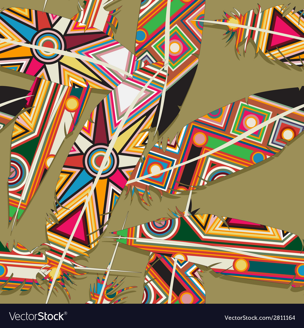 Ikat feather pattern 10 vector | Price: 1 Credit (USD $1)