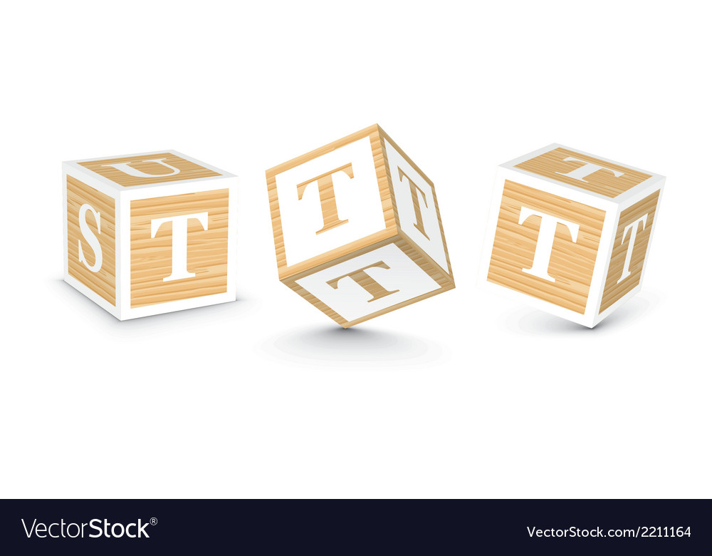 Letter t wooden alphabet blocks vector | Price: 1 Credit (USD $1)