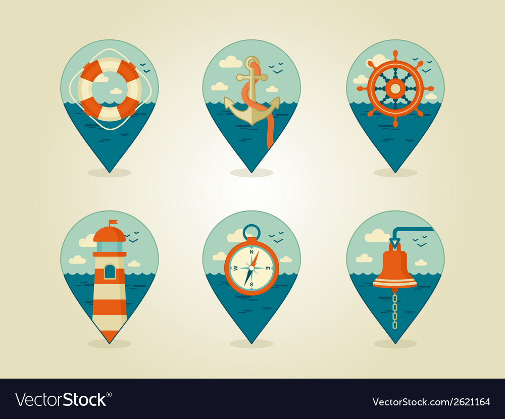 Pin map icons marine vector | Price: 1 Credit (USD $1)