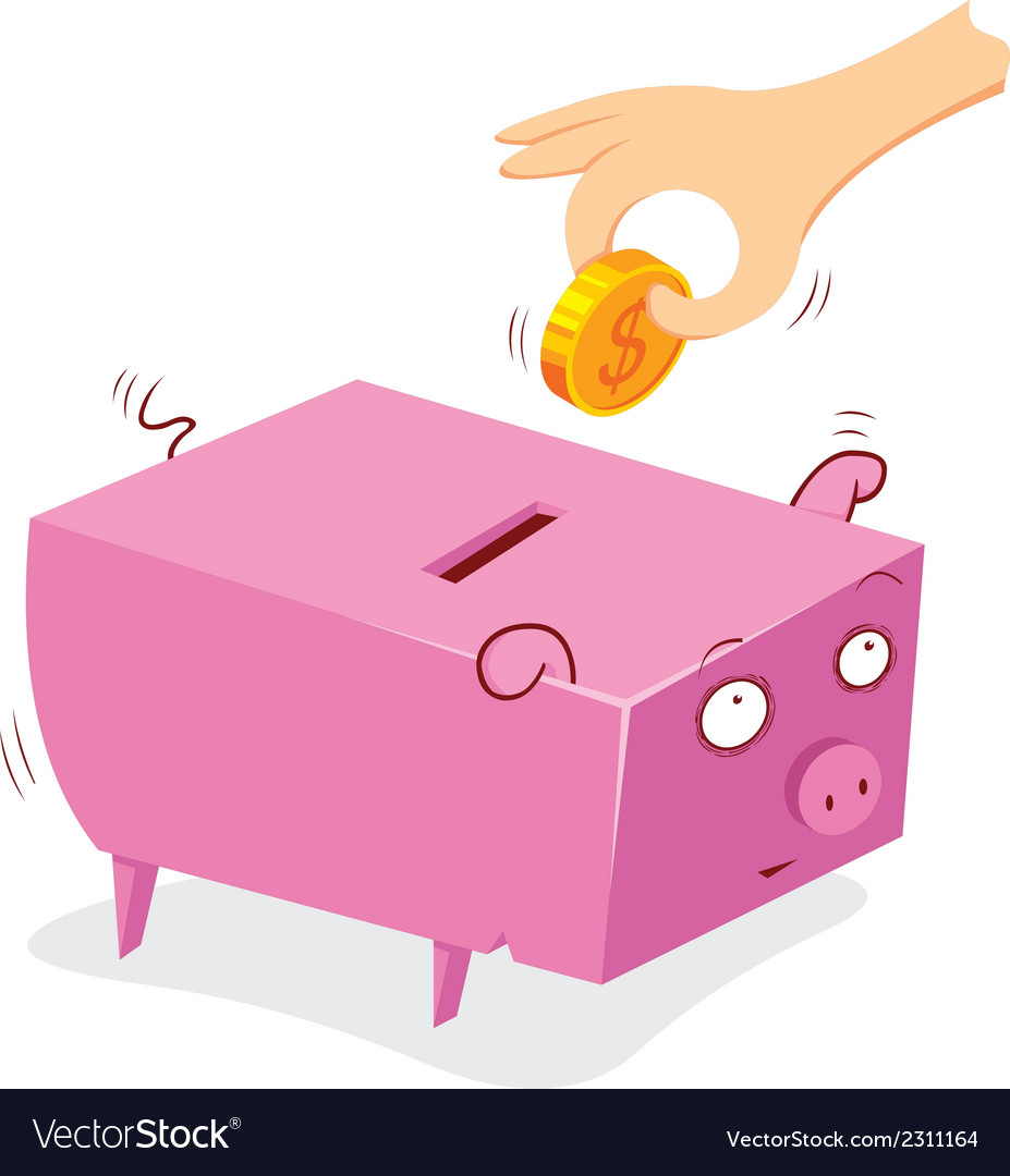 Putting money in to a pig bank vector | Price: 1 Credit (USD $1)