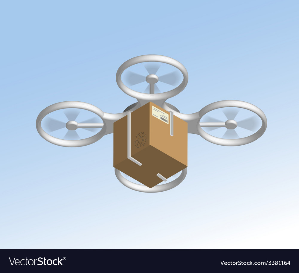 Remote air drone with a box vector | Price: 1 Credit (USD $1)