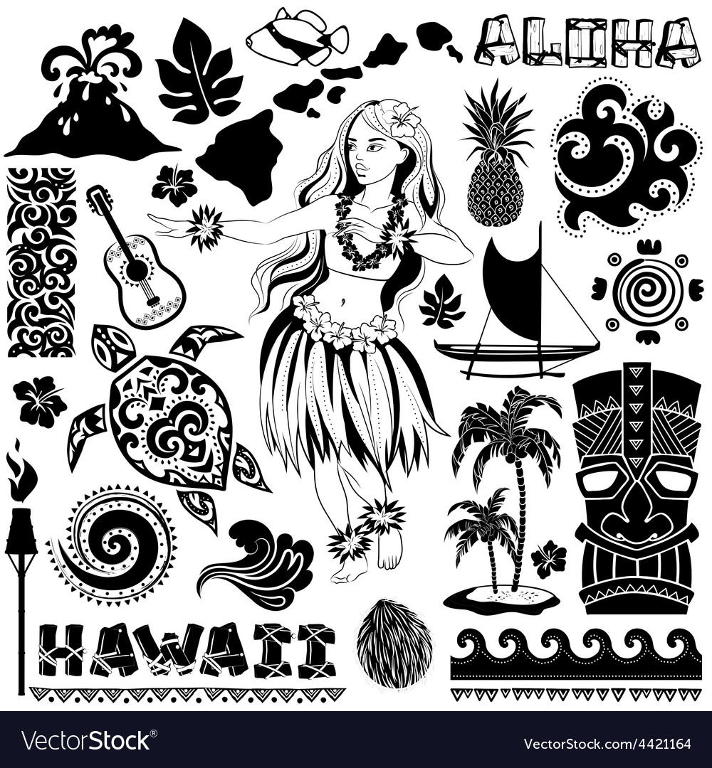 Retro set of hawaiian icons and symbols vector | Price: 1 Credit (USD $1)