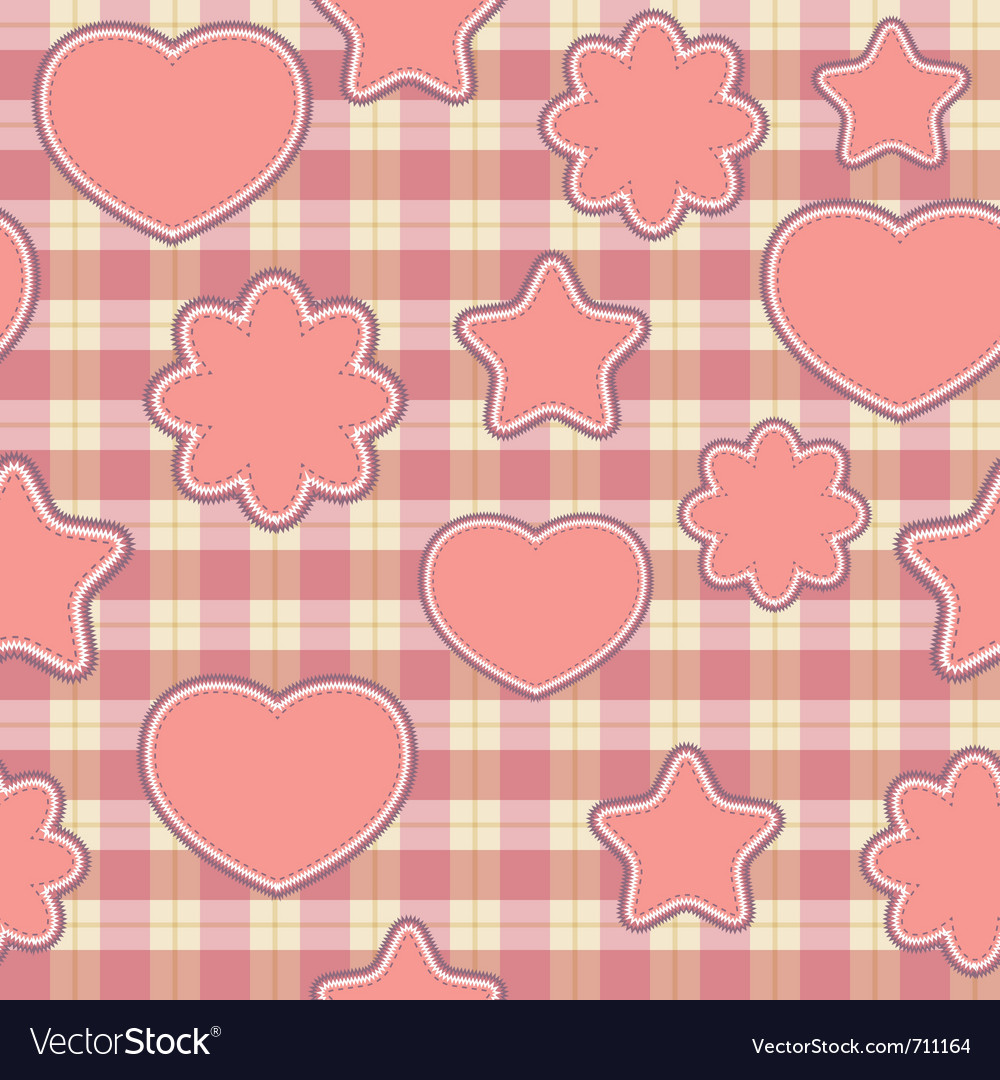 Seamless pattern with pink applications on checker vector | Price: 1 Credit (USD $1)