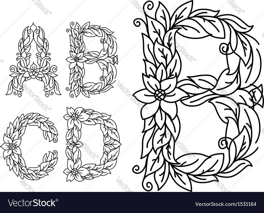 Title letters in floral style vector | Price: 1 Credit (USD $1)